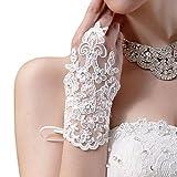 Aokdis Bride Wedding Party Dress Fingerless Rhinestone Lace Satin Bridal Gloves