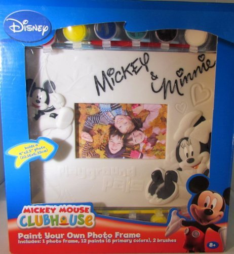 "DISNEY ""PAINT YOUR OWN PHOTO FRAME"" MICKEY MOUSE CLUBHOUSE MICKEY & MINNIE MOUSE INCLUDES: 1 PHOTO FRAME, 12 PAINTS, 2 BRUSHES - 1"