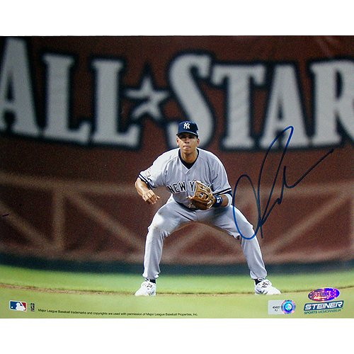 Alex Rodriguez Fielding W/ All Star In Background 8X10 Photo (Mlb Auth) front-922597