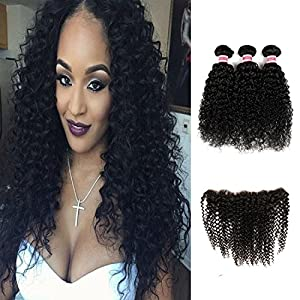 HC Hair 7a Unprocessed Brazilian Virgin Human Hair Extensions Kinky Curly weave 3 Mix Length Hair Bundles with Lace Frontal Closure(13×4) (18 20 22 24+16)