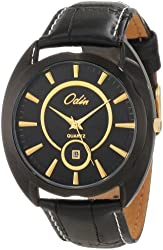 Odin Men's 747-1M Bk Precision Quartz 3-Hand Date with Leather Strap Watch