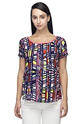 Indietoga Women's Designer Blue and Muti color printed Crepe top For girls