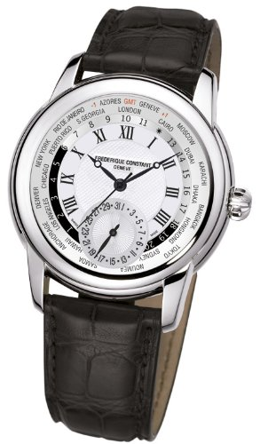Frederique Constant Worldtimer Silver Dial Brown Leather Mens Watch FC-718MC4H6