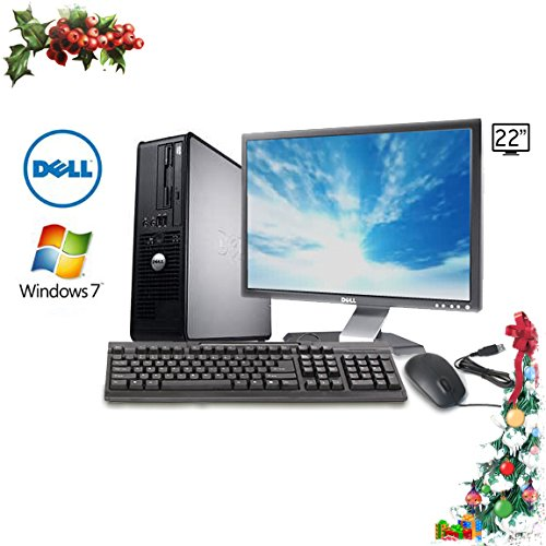 "Holiday Sale! Dell Optiplex 755 Small Form Computer, Intel Core 2 Duo 3.16Ghz Cpu, 4Gb Ddr2 Memory, New 500Gb Hard Drive, Wifi, Dvd/Cd-Rw Optical Drive, Microsoft Windows 7 Home Premium 32-Bit, With Dell 22"" Lcd (Featuring An Icompny.Com Usb Keyboard And"