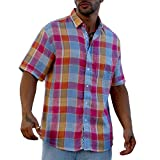 Plaid lined Blue Pink short sleeve linen shirt.
