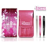 Professional Quality Stainless Steel Precision 3pcs Tweezers Set. Perfect for shaping eyebrows and removing facial and body hair. Includes Pink PU leather Case and Deluxe branded Pouch