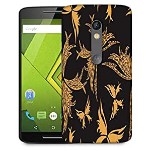 Snoogg Yellow Butterfly Black Pattern Designer Protective Phone Back Case Cover For Lenovo Motorola Moto G4
