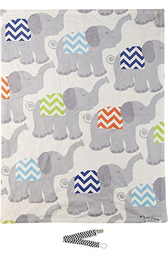"Manual Woodworkers SATYTB Tiny Trunks Blue Mini Fleece 30""x40"" Throw Blanket with Pacifier Clip"
