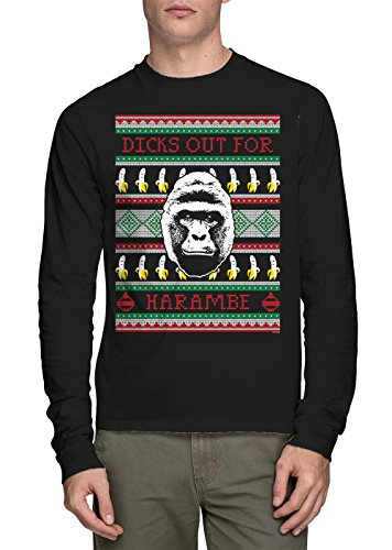 Long Sleeve Mens Dicks Out For Harambe - Ugly Christmas Sweater T-shirt (Large, BLACK) (Grinch Sweaters)