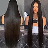 Lanting Hair Heat Resistant Fiber Hair Synthetic Wig Mermaid Black Color Silk Straight Synthetic Lace Front Wigs for Black Women(22inch lace front wig) (Color: Black, Tamaño: 22inch lace front wig)