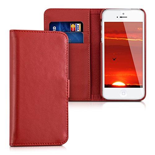 kalibri-Leder-Hlle-James-fr-Apple-iPhone-SE-5-5S-Echtleder-Schutzhlle-Wallet-Case-Style-mit-Karten-Fchern-in-Rot