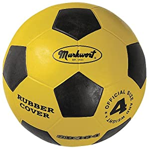 Markwort Jr. Size-4 Rubber Cover Soccer Ball, Yellow