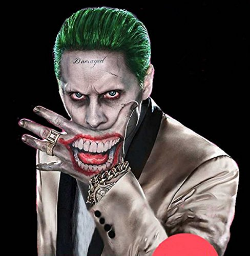 [NEW! Suicide Squad Joker Costume Tattoo Kit Makeup Temporary Tattoos Halloween Accessory Tattoos] (Joker Makeup Kit)