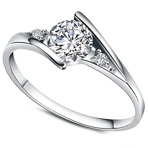 Women's White Cubic Zirconia Love Promise Cz Ring Engagement Wedding Eternity Bands Silver 7