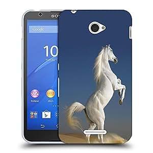 Snoogg White Horse Designer Protective Back Case Cover For SONY XPERIA E4