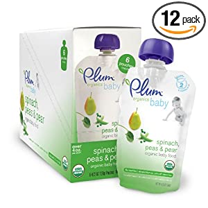 Plum Organics Baby Second Blends, Spinach, Peas and Pear, 4.22-Ounce Pouches (Pack of 12)