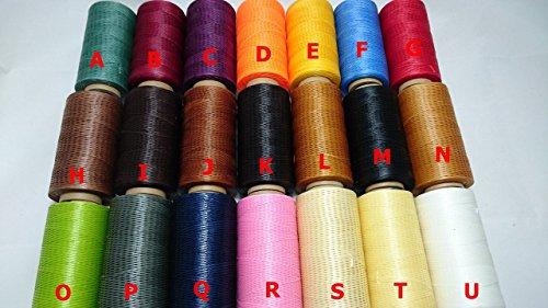 選べる カラー で 個性 を出せ 全21色 レザークラフト アクセサリー 製作 用 蝋引き 糸 260m 平紐タイプ 太さ 1mm (B)