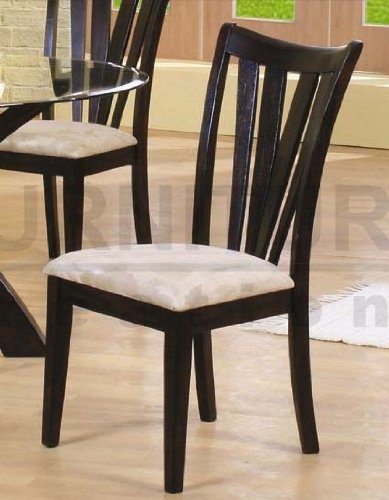 Set of 2 Dining Chairs Beige Microfiber Fabric Cappuccino ...