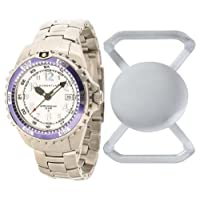 New St. Moritz Momentum M1 Twist Women's Dive Watch & Underwater Timer for Scuba Divers with Purple Bezel, Stainless Steel Band & FREE Watch Protector (Valued at $12.95) for Added Protection to the Glass Face of Your Dive Watch