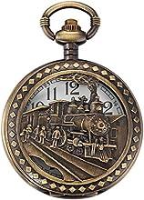 AMPM24 Reloj de Bolsillo de Cuarzo, Analógico, Caja Bronce, con Dibujo de Tren WPK100