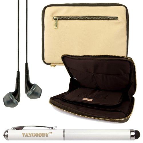 Premium Leather Protecitve Sleeve Bag Case For Dell Venue 7 / Hp Slate 7 / 7Hd / 7 Plus / Mesquite 7-Inch Tablets + Laser Stylus Pen + Black Headphones (Tan & Olive Green)
