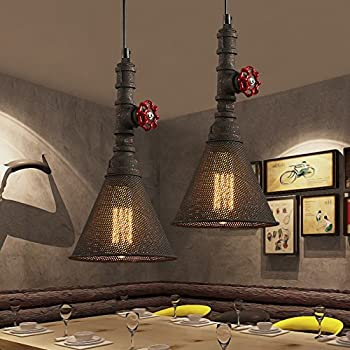 BAYCHEER HL416404 Industrial Retro Vintage style Mini Water Pipe Suspension Pendant Light Lampe Chandelier with Metal Mesh in Mottled Rust Finish use E26/27 Bulb