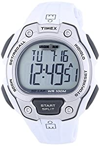 Timex Unisex Quartz Watch with LCD Dial Digital Display and White Resin Strap T5K690SU