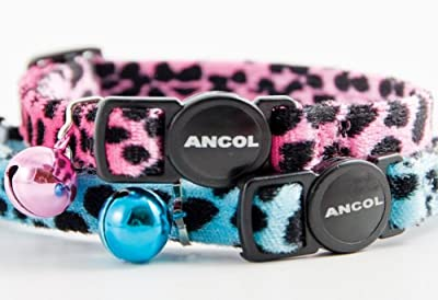 Ancol Velvet leopard print cat collar pink or blue