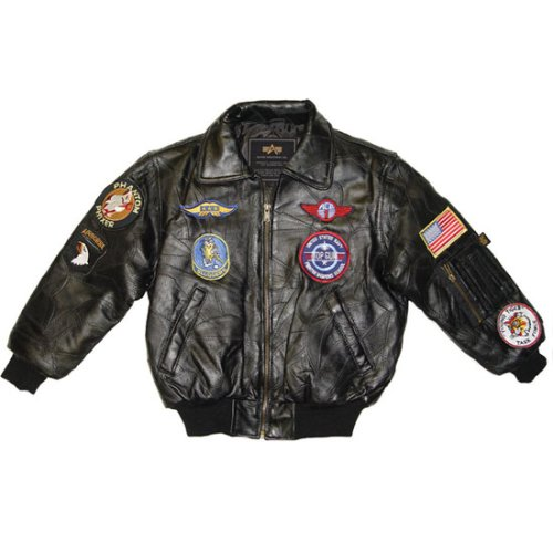 Youth Leather Bombardier with Patches - Buy Youth Leather Bombardier with Patches - Purchase Youth Leather Bombardier with Patches (Alpha Industries, Alpha Industries Mens Outerwear, Apparel, Departments, Men, Outerwear, Mens Outerwear)