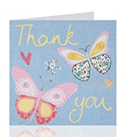 Stitched Butterflies Thank You Greeting Card