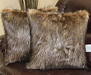 Amazon.com: Wolf Brown Black Faux Fur 18 X 18 In. Throw Pillow - Set of 2: Home & Kitchen
