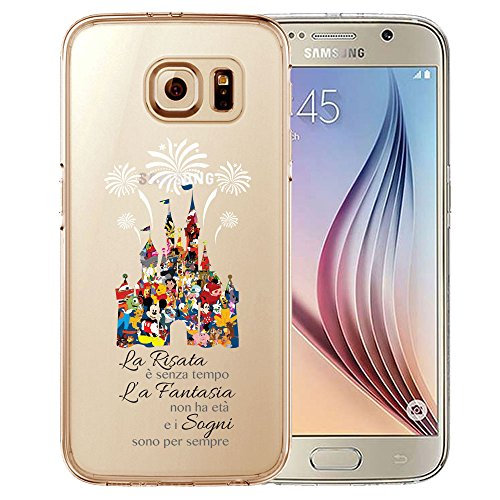 Cartoon Movie Character Fan Art CLEAR Hybrid Cover Case for Disney Castle-Samsung Galaxy S7 (TPU Surround with Hard Back) Custodia protettiva Slim - Disney Castello Quotazione Caso temi in Design unico - Realizzata in TPU Silicone / plastica dura con le coperture modello esclusivo e paraurti in modo trasparente e chiaro con stampa HD - protegge da graffi - tappi per le connessioni contro lo sporco e la polvere