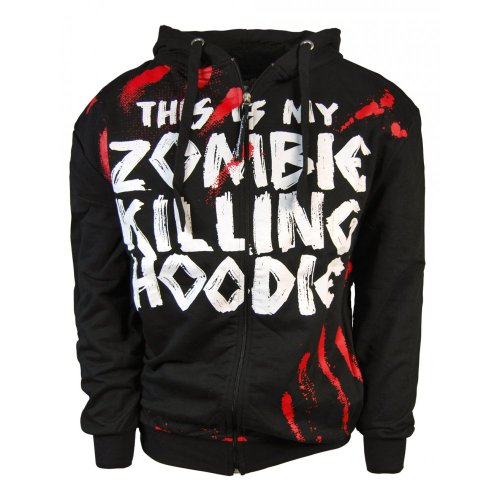 Goodie Two Sleeves Mens Zombie Killing Hoodie, Black : Large - Chest 38-40in