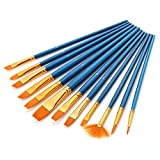 Mudder 12 Pieces Artist Paint Brushes Set Art Painting Supplies for Acrylic Watercolor and Oil Painting, Blue