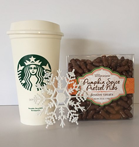 Starbucks Classic Black/White To Go Travelers Plastic Grande Tumbler/Cup with Lid And Pumpkin Spice Pretzel Nibs Feastive Treats (6oz) Holiday Bundle (2 Items)