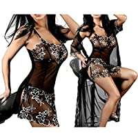 Women's Embroidered Sheer Perspective Strapless Lingerie Babydoll Chemise