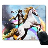 Funny Cute Cat Dressed as Rambo with Gun Riding a Glowing Red Eyes Fire Breathing Unicorn Mouse Pad