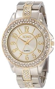 XOXO Women's XO5462 Rhinestone Accent Two-Tone Analog Bracelet Watch