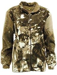 Womens Animal Fleece Zip Jacket with Husky Dog Design - Brown - D11
