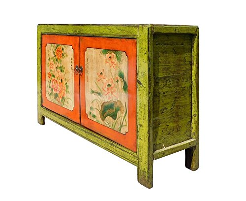 Chinese Lime Green Orange Flower Side Table Cabinet Acs1346 3