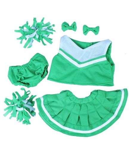"Green & White Cheerleader Fits Most 8""-10"" Webkinz, Shining Star and 8""-10"" Make Your Own Stuffed Animals and Build-A-Bear"