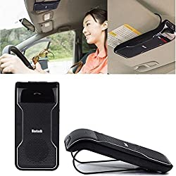 DLAND Bluetooth Visor Multipoint Speakerphone Car kit - Wireless Handsfree Speaker For iPhone 5 5S 5C 4S 4 iPad Samsung Galaxy S5 S4 Note 2 Note 3 Google Nexus 7 Google LG Nexus 4 Google LG Optimus G Pro Sony Xperia Z1 L39H Z L36h Blackberry Z10 Smart Phones and All Bluetooth-enabled Cellphone