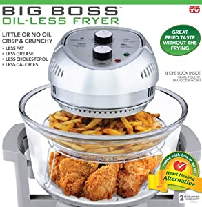 Big Boss 8605 1300-Watt High-Speed, Low Energy Oil-Less Fryer, 16-Quart Capacity (Gray)
