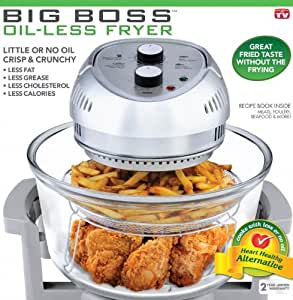 Big Boss 8605 1300-Watt High-Speed, Low Energy Oil-Less Fryer, 16-Quart Capacity (Gray)