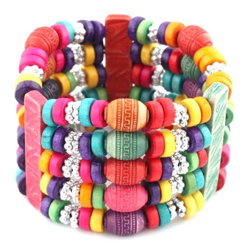 Ladies Multicolored 5 Row Spacers & Bars Style Wooden Beaded Stretch Bracelet