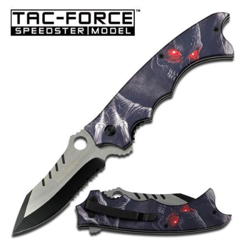 """Master Cutlery TF-828GY Tac-Force 5"""" Folder, 2Tone Half Serrated Blade, Grey Demon with Red Eye Handle with Clip"""