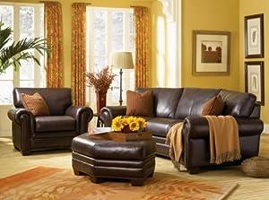 Brindisi 100% Top Grain, Pure Aniline Leather Conversation Sofa & Ottoman
