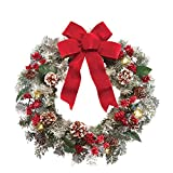 Lighted Holiday Frosted Pine Wreath