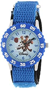 Disney By Ewatchfactory Kids Toy Story Quartz Watch with White Dial Time Teacher Display and Blue Nylon Strap W000061