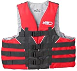 X20 4 Buckle Dual Sized USCG Approved Floatation Life Vest (Red, Large/X-Large)